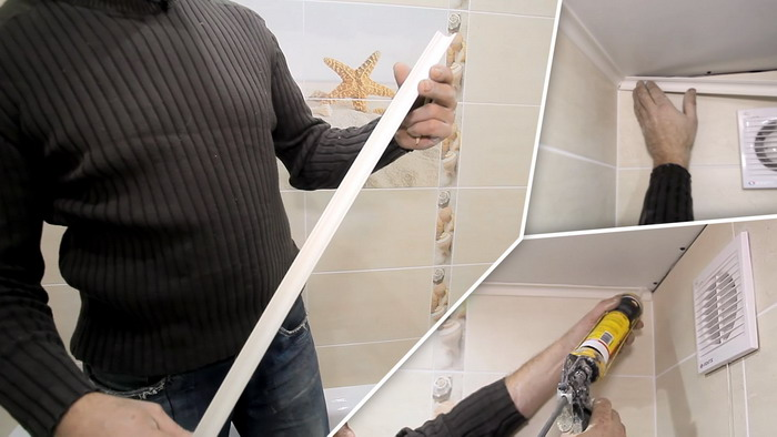 Монтаж пластикового плинтуса к панелям ПВХ при помощи клея