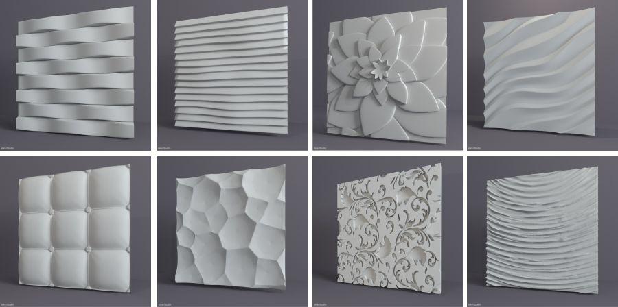 Фрагменты рисунков гипсовых 3D плит