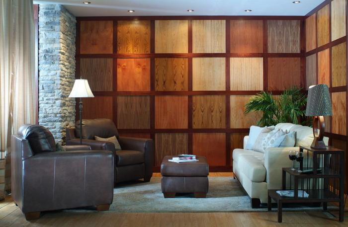 Стеновые панели из массива дерева в виде квадратов