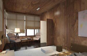 Шпонированные плиты на стенах и потолке в комнате для отдыха