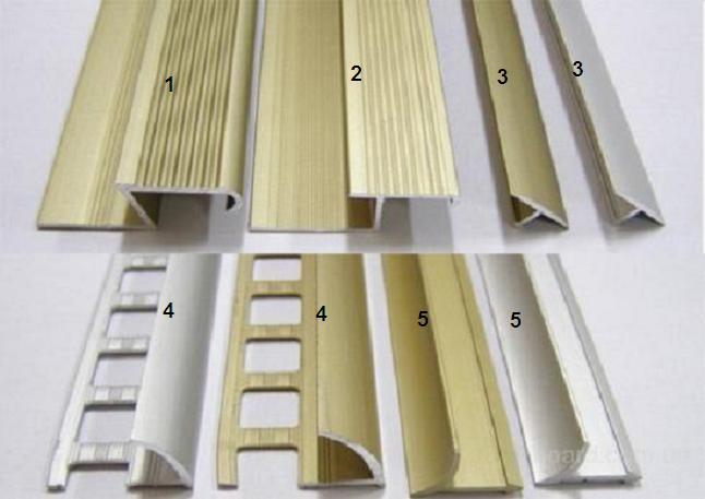 Профиль соединений для плитки; варианты возможной конфигурации декоративных уголков: 1 – для наружного угла закруглённый; 2 – тоже с плоским краем; 3 – соединительные, для стыковки плиток разной расцветки либо при необходимости её обрезки; 4 – для отделки наружных углов; 5 – для отделки внутренних углов
