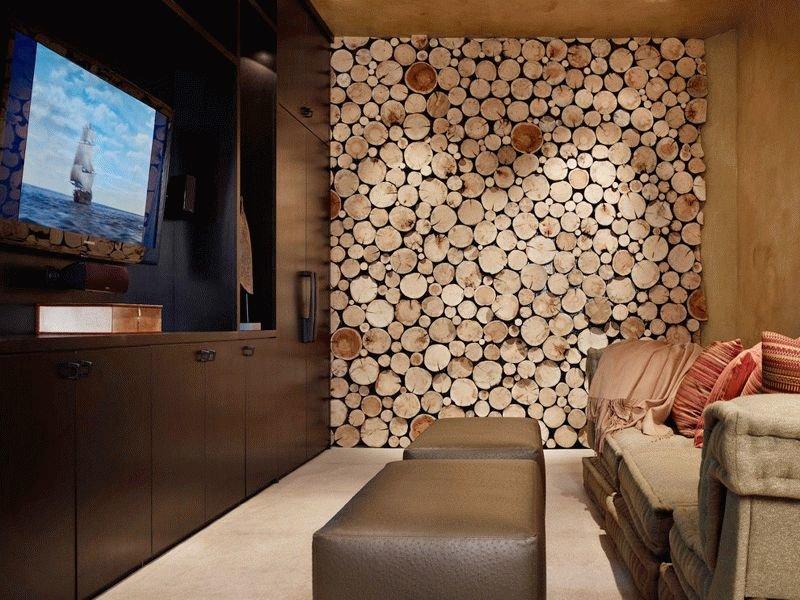 Панно, сделанное из древесных спилов