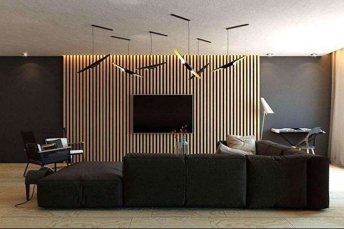 Отделка реечными деревянными панелями