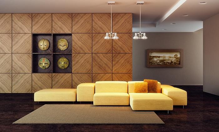 Дизайн с деревянными панелями