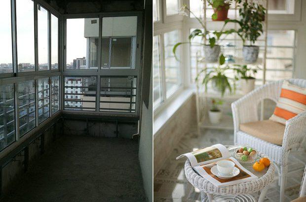 Балкон до и после отделки