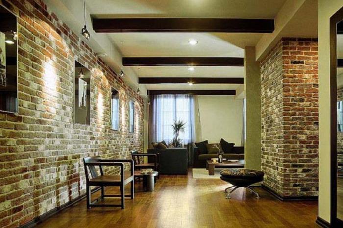 Декоративная отделка стен с имитацией под кирпич