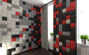 Мягкая стеновая панель из кожи
